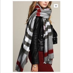 Gray Ivory Burgundy Multicolored Plaid Long Scarf